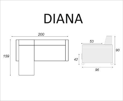 Narożnik DIANA - wymiary narożnika - meble RODAN Czastary